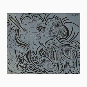 Linogravure La Pique par Pablo Picasso pour Galleria Louise Leiris, 1963