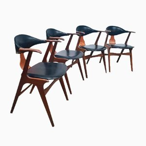 Mid-Century Cow Horn Chairs by Louis van Teeffelen for AWA, Set of 4