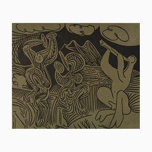 Linogravure Danseurs et Musicien sur Papier par Pablo Picasso pour Louise Leiris Gallery, 1963