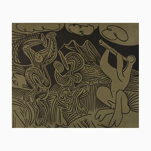 Linoincisione Danseurs et Musicien di Pablo Picasso per Louise Leiris Gallery, 1963
