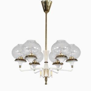 Lámpara colgante escandinava Mid-Century de latón y vidrio