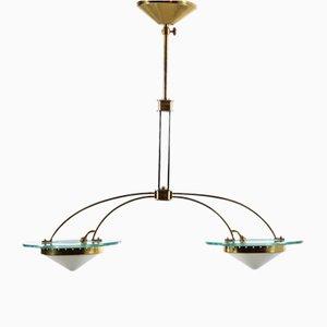 Italian Brass & Opaline Glass Chandelier, 1960s