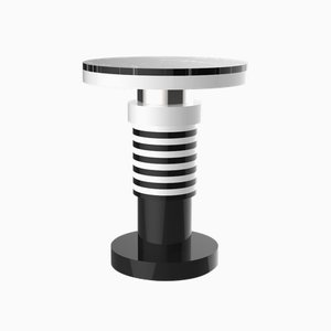 Nita Variation 3 Side Table with Silver Band & Black Top from CASALTO