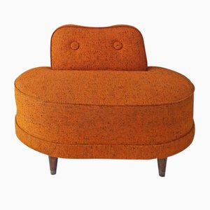 Large American Orange Tweed, Walnut & Brass Lounge Chair, 1950s