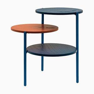 Kleiner Triplo Tisch in Blau & Korallenrot von Martina Bartoli für Mason Editions