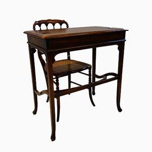Scrivania edoardiana antica con sedia