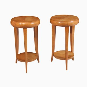 Art Deco French Sycamore Side Tables, 1920s, Set of 2