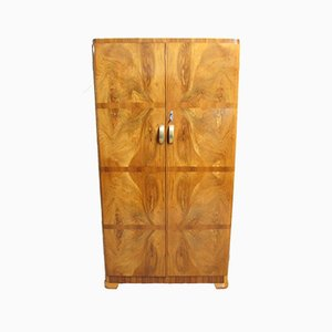 Small Art Deco Burr Walnut Wardrobe