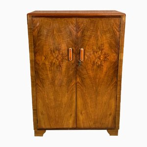 Small Art Deco Walnut Burl Cabinet