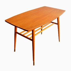 Couchtisch mit abgerundeter Tischplatte & Messingfußspitzen, 1960er
