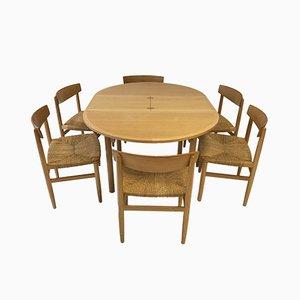 Tavolo da pranzo nr. 140 e sedie nr. 537 di Børge Mogensen per Karl Andersson, set di 7
