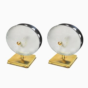 Opal Glass and Brass Sconces by Gino Sarfatti, 1950s, Set of 2