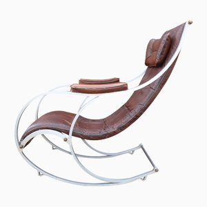 Leather Rocking Chair by Peter Cooper for R.W. Winfield, 1940s