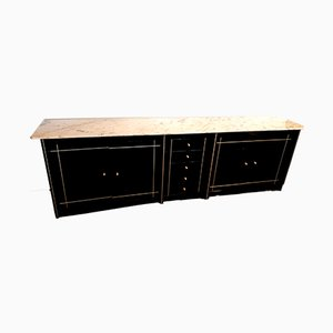 Vintage Black Lacquered Wood Sideboard with Marble Top