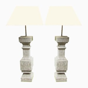 Victorian Blue Stone Lamps, 1850s, Set of 2