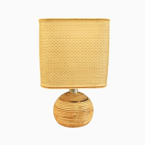 Italian Wicker Table Lamp, 1960s