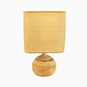 Lámpara de mesa italiana de mimbre, años 60