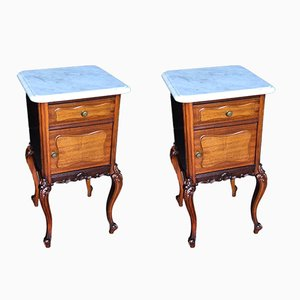 French Walnut Bedside Cupboards, Set of 2
