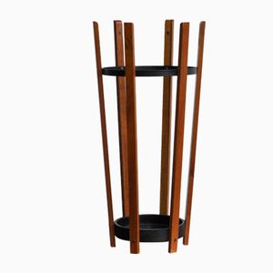 Vintage Teak and Metal Umbrella Stand, 1960s