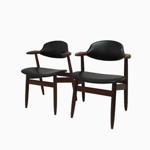 Cowhorn Esszimmerstühle von Tijsseling für Hulmefa Nieuwe Pekela, 1960er, 2er Set