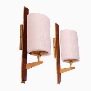 Vintage Brass, Opaline & Teak Sconces, 1960s, Set of 2