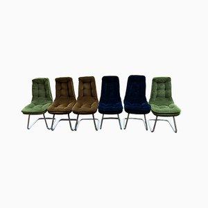 Sedie da pranzo in metallo cromato e stoffa, anni '70, set di 6