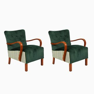 Vintage Danish Lounge Chairs, 1920s, Set of 2