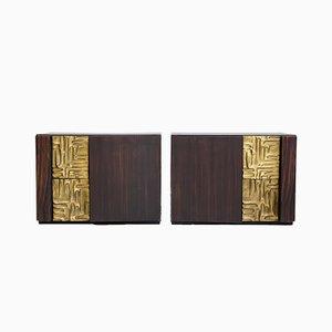 Credenzas de ébano Macassar con detalles de bronce de Luciano Frigerio. Juego de 2