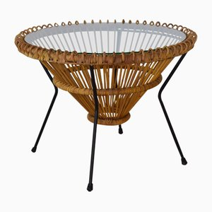 Vintage Rattan Wicker Coffee Table by Franco Albini, 1950s