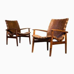 Vintage Sessel mit Bezug aus Rindsleder, 1960er, 2er Set