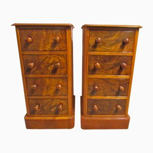 Antique Victorian Burr Walnut Bedside Drawers, Set of 2
