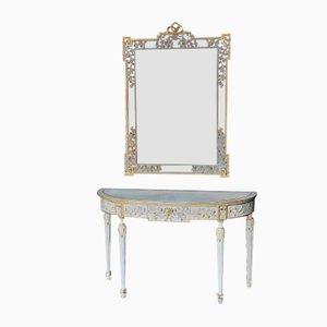 Mesa francesa estilo Luis XVI de espejo pintado, años 60