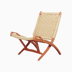 Vintage Mid-Century Teak & Rope Foldable Lounge Armchair by Ebert Wels, 1960s