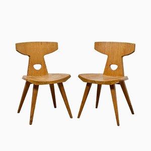 Esszimmerstühle aus massivem Pinienholz von Jacob Kielland-Brandt für I. Christiansen, 1960er, 2er Set