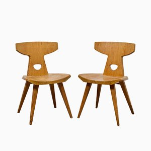 Solid Pine Dining Chairs by Jacob Kielland-Brandt for I. Christiansen, 1960s, Set of 2
