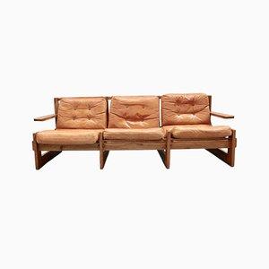 Sofá danés de cuero, años 70
