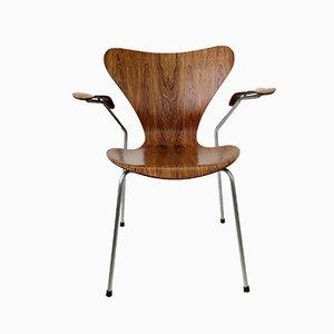 Silla No. 3207 de palisandro de Arne Jacobsen para Fritz Hansen, años 50