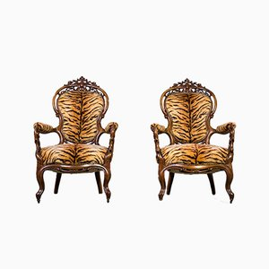 Louis Philippe Era Lounge Chair, 1860s, Set of 2