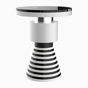 Wapi Variation 3 Beistelltisch mit silbernem Band & schwarzer Tischplatte von CASALTO