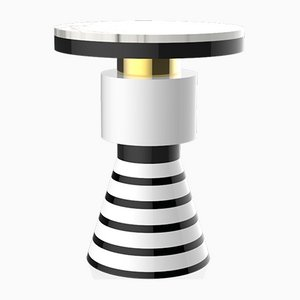 Wapi Variation 4 Side Table with Gold Band & White Top from CASALTO