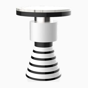 Wapi Variation 4 Side Table with Silver Band & White Top from CASALTO