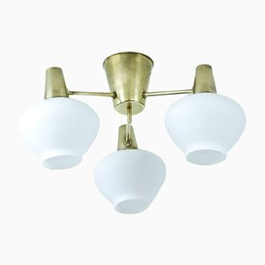Swedish 3 Armed Ceiling Lamp in Brass & Glass from ASEA, 1950s