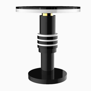 Chimalis Variation 2 Side Table with Gold Band & Black Top from CASALTO