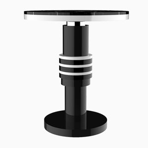 Chimalis Variation 2 Beistelltisch mit silbernem Band & schwarzer Tischplatte von CASALTO