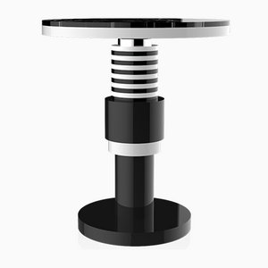 Chimalis Variation 3 Side Table with Silver Band & Black Top from CASALTO