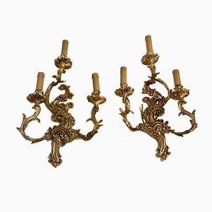Vintage Gilt Bronze Sconces, Set of 2
