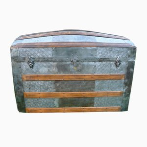 Antique American Metal & Wood Domed Trunk