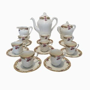 Limoges Porcelain Coffee Service Set with 8 Cups from Sigismond Mass, 1920s