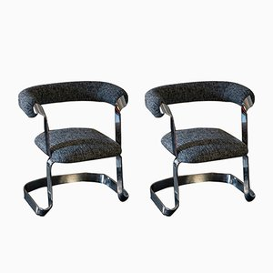Chromed Dining Chairs, 1970s, Set of 2