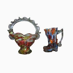 Mehrfarbiges Vintage Obstkorb- und Vasen-Set aus Glas von Ząbkowice Glassworks, 1970er